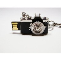 Black w Crystals Camera keychain 4GB USB Flash Drive - in Gift Box - with GadgetMe Brands TM Stylus Pen