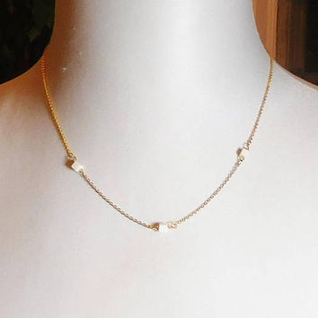 18K Gold Filled Chain with Small Square Shell Beads, Minimalist Necklace, 20 inches, Delicate, Tiny Beads,