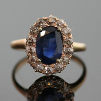 Antique Sapphire and Diamond Ring - 14K Rose Gold