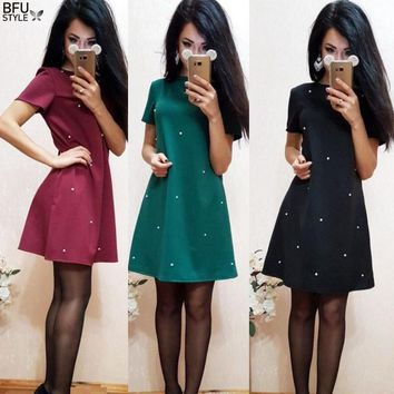 Pearl Beading Tunic Dress 2018 New Fashion Womens Straight Dress Navy Short Sleeve Mini Dress Dropship
