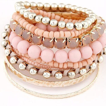 Designer Bohemian Candy Color Multilayer Beads Bracelet Bangles jewelry for women Spring 2015 gift pulseras mujer wrist band #V770