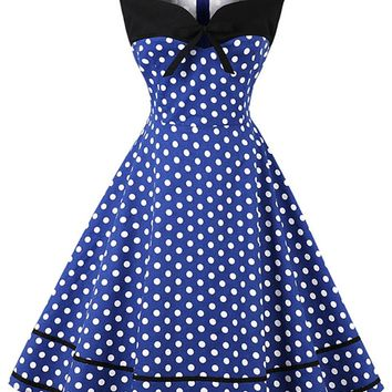 Atomic Blue and White Sleeveless Dotted Dress