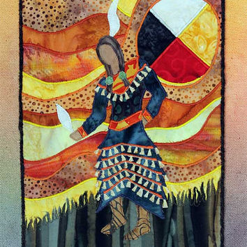 Native American Jingle Dress Dancer, Four Directions, Medicine Wheel, art quilt on canvas