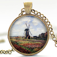 A Field of Tulips in Holland Art Pendant, Monet Necklace, Fine Art Charm, Your Choice of Finish (072)