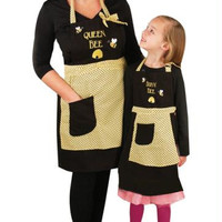 "Mother And Daughter Chef's Apron Set -  "" Queen Bee ""  And  "" Busy Bee """
