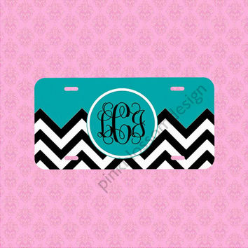 Front License Plate - Monogram Chevron Car Tag - Personalized Car Tag Monogram License Plate