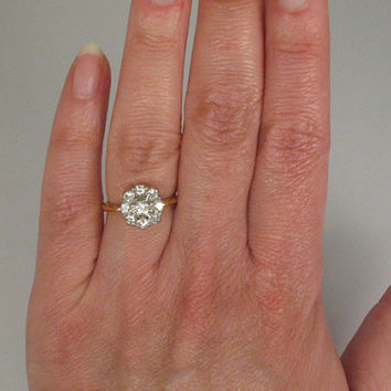 Reserved for Jake - Unique Vintage Diamond Cluster Engagement Ring - Cocktail Ring - 0.56 Carats - 18K Yellow Gold