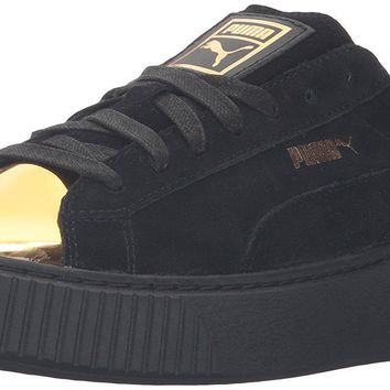 puma women s suede platform gold fashion sneaker  number 1