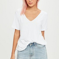 Missguided - White Boyfriend V Neck T-Shirt