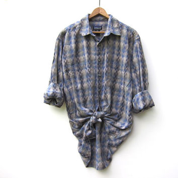 90s Patagonia Shirt ORGANIC Cotton Button Up Men's Shirt Preppy Tribal Boyfriend Tomboy Prep Shirt Boho Purple Blue Shirt Mens Medium