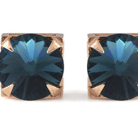 Cabinet Studios // Midnight Crystal and Rose Gold Stud Earrings