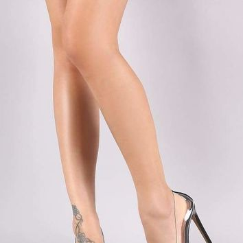Qupid Studded Clear Pointy Toe Stiletto Pump
