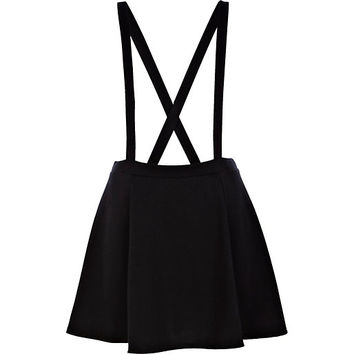 River Island Womens Black dungaree skater skirt