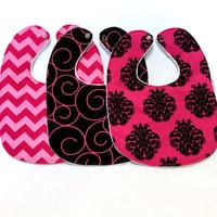 Baby Bib Set - Modern Baby Bib Set - Pink and Black Bibs - Hot Pink Baby Bibs -White Minky Fabric Backing - Handmade Baby Gift