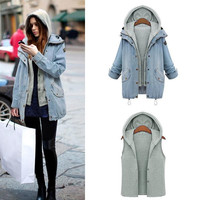 Casual Knitted Two Piece Set Hooded Jean Jacket