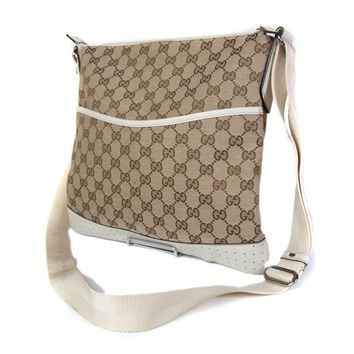 Authentic GUCCI GG Web Canvas Leather Brown Cross-Body Shoulder Bag GS1435