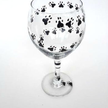 Hand painted Paw Print Animal Print Wine Glass for Dog Lovers!