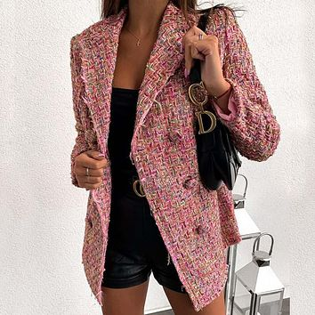 Lapel Double Breasted Blazer Coat