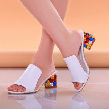 2017 Women platform sandals sexy Crystal Clear Transparent high heels pumps party wedding thick sandals shoes ladies slippers