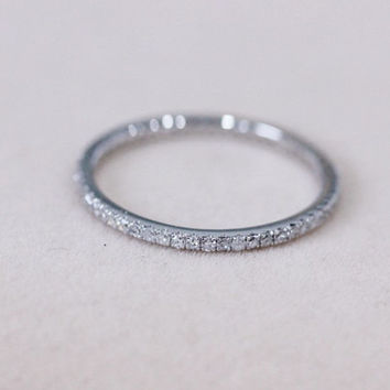 Natural Diamond Ring Wedding Band 14K White Gold Ring Diamond Band Engagement Ring Full Eternity Matching Band