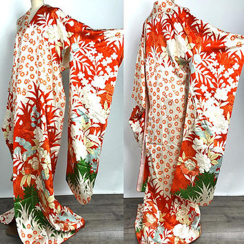 Japanese K80501 Elegant  Kyo-Yuzen Orange Furisode Kimono dress Vintage