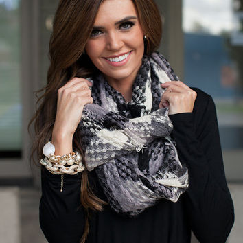 Composed Plaid Infinity Scarf Charcoal/Black/White