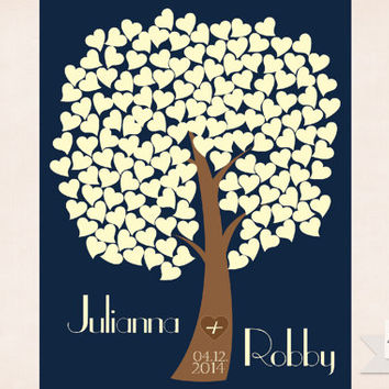 Wedding Guest Book - Guest Book Tree Canvas - Wedding Tree Guest Book - Heart Tree Guest Book - Guest book print - 150 Guests - 16x20 print