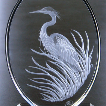 Custom Hand Engraved Great Blue Heron. One of a Kind Crystal Sculpture that will accent any home of  Lovers of Fine Art!