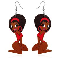 Colorful Figure Female Dangle Wooden earring