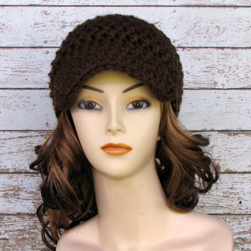 Chocolate Brown Crocheted Women's Hat, Ladies Visor Beanie, Chunky Winter Hat