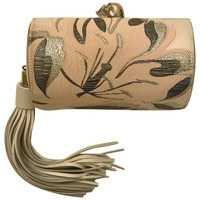 Alexander McQueen North South Pink Silver Cream Floral Skull and Tassel Clutch