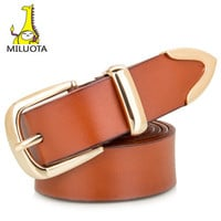 Genuine leather women belt fashion exquisite design metal pin buckle belts for women thick belt