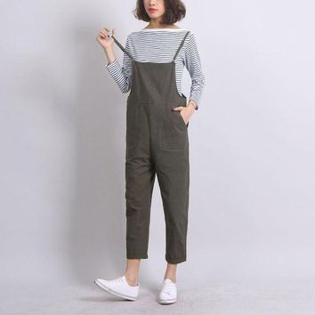 ESBONFI Ankle-Length Women Loose Suspender Trousers Solid Color Casual High Waist Overalls Autumn Summer Jumpsuits Female Long Pants