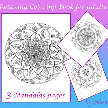 Mandalas Relaxing Coloring Book for Adults, 3 Mandalas Digital pages, Instant Download Printable Mandala, Zentangle Mandala Paisley Drawing