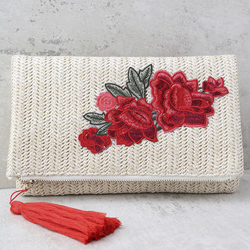Into Bloom Cream Embroidered Clutch
