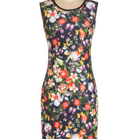 ModCloth Mid-length Sleeveless Sheath Active Illustrations Dress