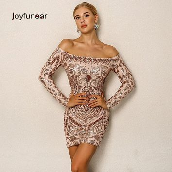 Joyfunear Elegant Sequined Dress Off The Shoulder Long Sleeve Ladies Sexy Chic Dress Christmas Night Clubwear Outfit For women