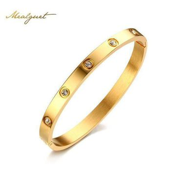 Meaeguet Rose Gold Color Crystal Bangle For Trendy Women Cuff Bracelet Bangles Stainless Steel Jewelry 6mm Wide