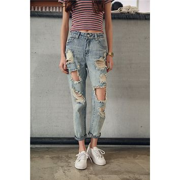 Women Casual Irregular Worn Ripped Jeans  Loose Beggar Pants Trousers