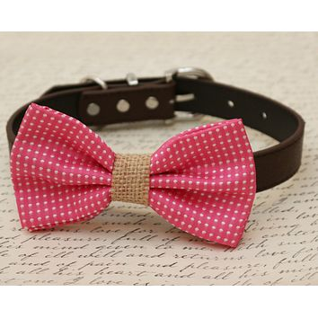 Hot pink Dog Bow Tie attached to collar, Country Rustic wedding, Burlap wedding, pet accessory