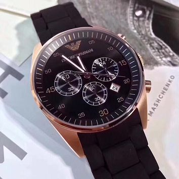 DCCK A011 Armani Emporio Solid Stainless Fashion leisure sport watch men's quartz watch Black Rose Gold