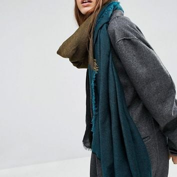 ASOS Oversized Lightweight Scarf In Color Block at asos.com
