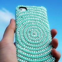 Rhinestone Vortex Pattern Mint Green Pearl Case for iPhone 4/4S