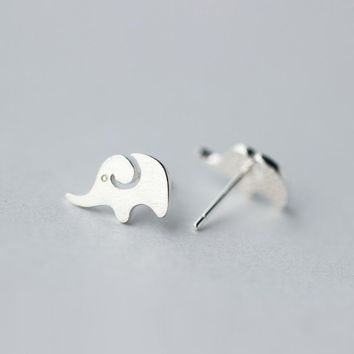 Real. 925 Sterling Silver Cute Elephant Lover Themed 925-sterling-silver-Jewelry Stud Earrings