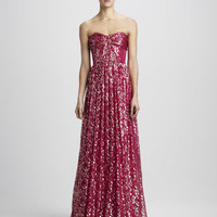 Shirred Metallic Gown
