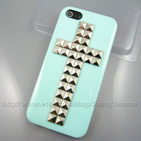 IPhone 5 case, Cross Studded Mint Green iPhone 5 Hard Case,Silver Pyramid Studs iPhone Case,Icecream