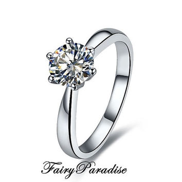 1 Ct Round Cut lab made Diamond Classic solitaire Engagement Wedding Ring with gift box - made to order
