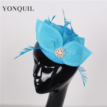 NEW ARRIVAL 17color sea blue bridal sinamay fascinators hats cocktail hat wedding hair accessories occasion hats for women SYF73