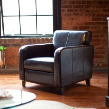 Dark Brown Leather Upholstered Club Chair