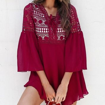Boho Effect Wine Red 3/4 Bell Sleeve Lace Tie Neck Empire Waist Casual Mini Dress